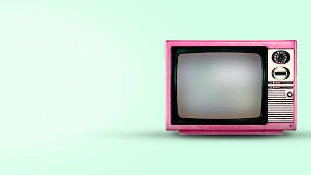 Vecchia annata tv su priorità bassa verde Foto Premium