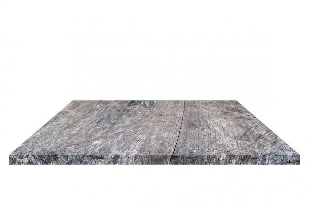 Vecchia mensola di legno marrone vuota isolata su priorità bassa bianca. Foto Premium