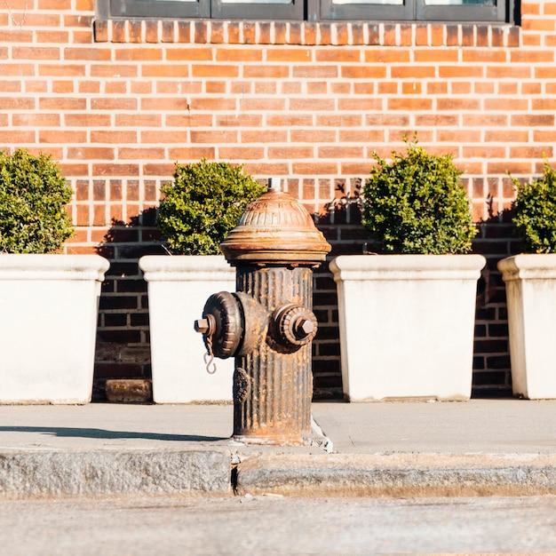 Vecchio idrante antincendio sulla strada Foto Gratuite