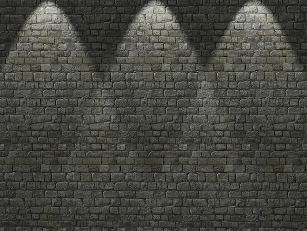 Vecchio muro di mattoni 3d con i riflettori che brillano giù Foto Gratuite