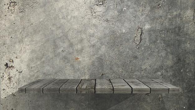 Vecchio scaffale di legno 3d su una parete del grunge Foto Gratuite