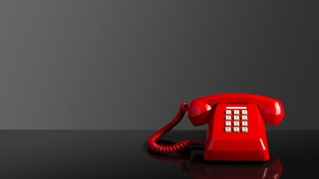 Vecchio telefono vintage rosso su sfondo nero Foto Premium