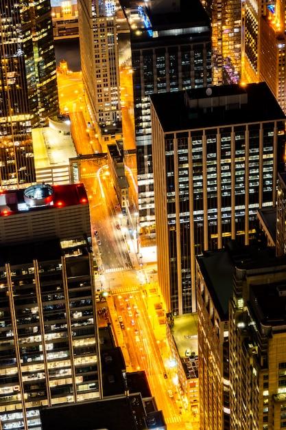 Veduta aerea della notte di chicago skylines Foto Premium