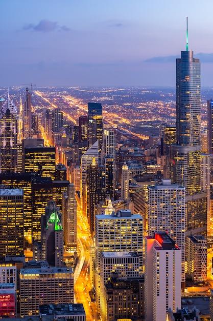 Veduta aerea di chicago skyline sud Foto Premium