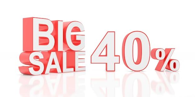 Vendita del quaranta per cento. grande vendita per banner del sito. rendering 3d. Foto Premium