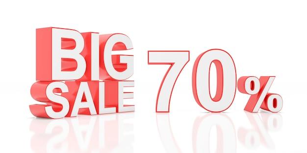 Vendita del settanta per cento grande vendita per banner del sito. rendering 3d. Foto Premium