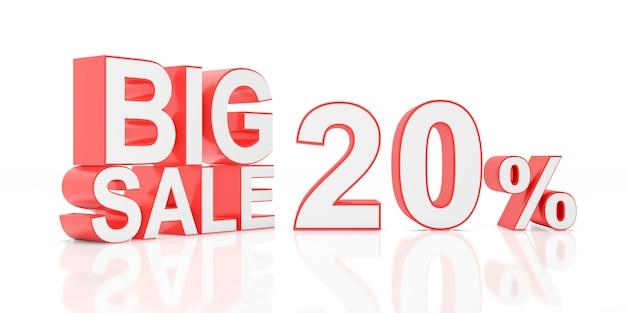 Venti percento in vendita. grande vendita per banner del sito. rendering 3d. Foto Premium