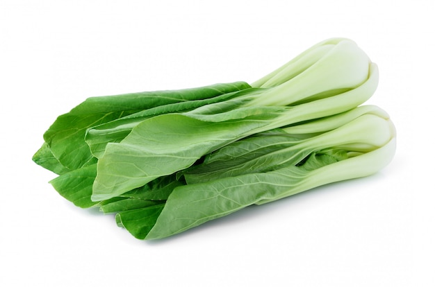 Verdura di cavolo cinese isolata su bianco. Foto Premium