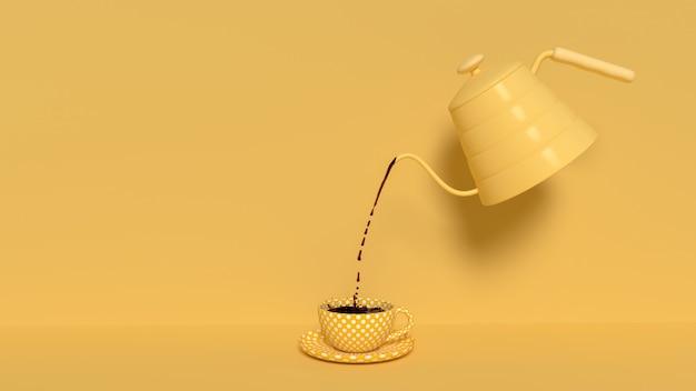 Versare il caffè nero dal bollitore Foto Premium