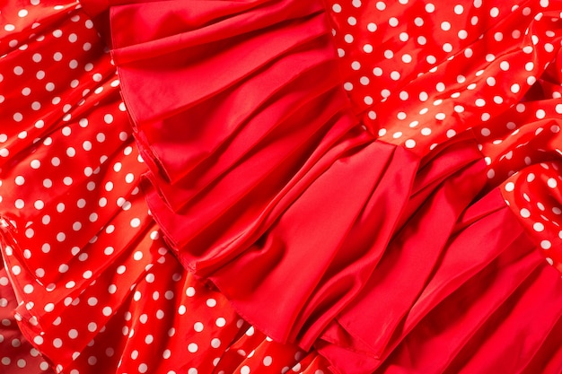 Vestito rosso del ballerino di flamenco con i punti macro Foto Premium