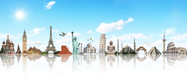Viaggia attraverso il concetto di monumento mondiale Foto Premium