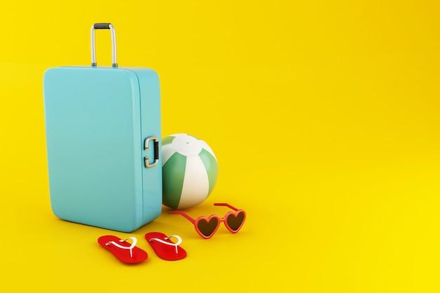 Viaggio 3d valigia, pallone da spiaggia, infradito e occhiali da sole Foto Premium