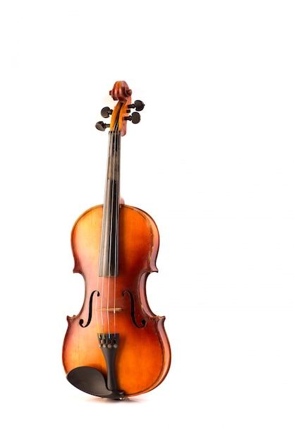 Vintage retrò violino isolato su bianco Foto Premium