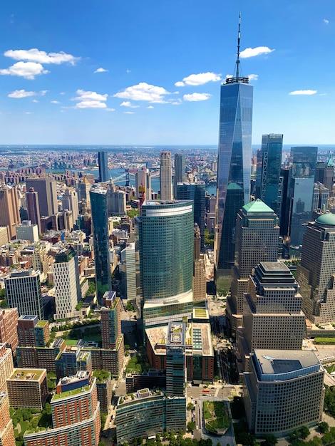 Vista aerea di manhattan a new york city Foto Premium