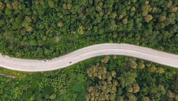 Vista aerea superiore della strada via nella foresta, vista dal fuco Foto Premium