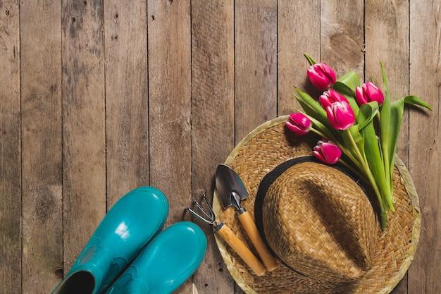 Vista dall 39 alto di articoli di giardinaggio e tulipani for Articoli giardinaggio