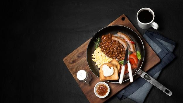 Vista dall'alto colazione padella Foto Gratuite
