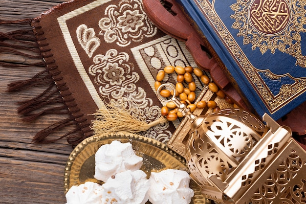 Vista dall'alto concetto islamico di nuovo anno Foto Gratuite