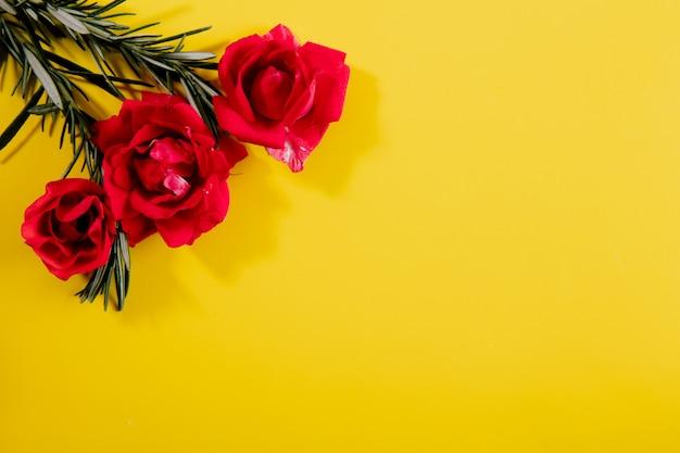 Vista dall'alto copia spazio rami di rosmarino con rose rosa su uno sfondo giallo Foto Gratuite