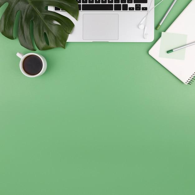 Vista dall'alto del portatile con caffè e pianta Foto Gratuite