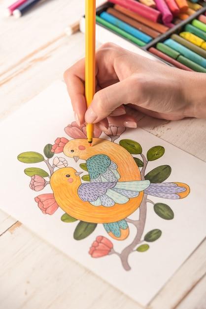 Vista dall'alto dell'immagine disegnata con pennarelli su carta Foto Gratuite