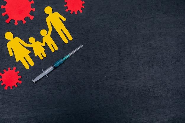 Vista dall'alto della famiglia con siringa e virus Foto Gratuite