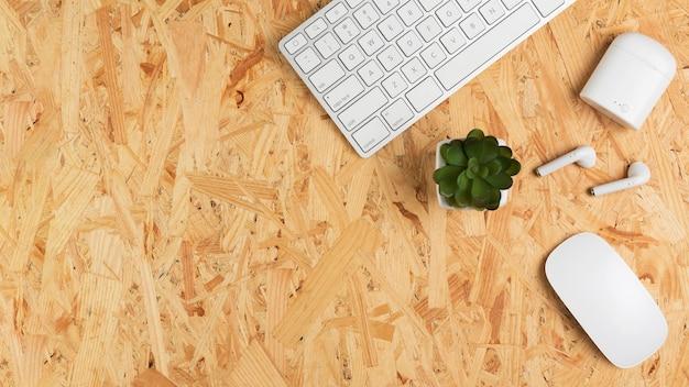 Vista dall'alto della scrivania con tastiera e succulente Foto Gratuite