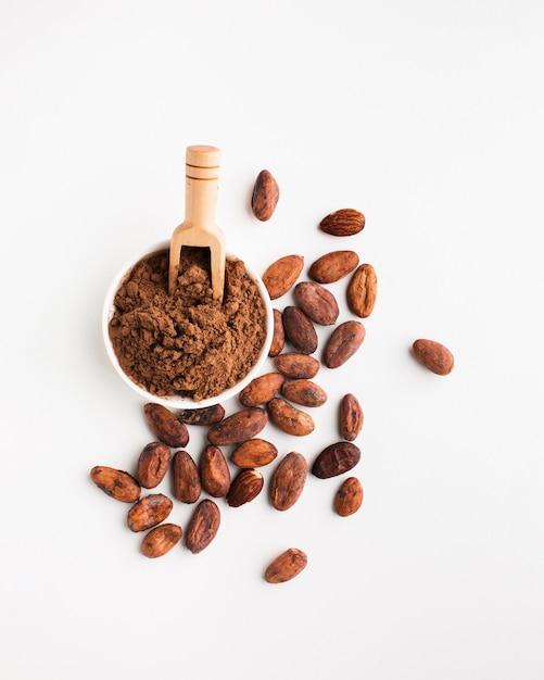 Vista dall'alto di cacao in polvere Foto Gratuite
