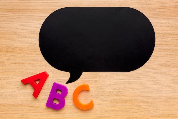 Vista dall'alto di ritorno a materiale scolastico con bolla di chat e lettere Foto Gratuite