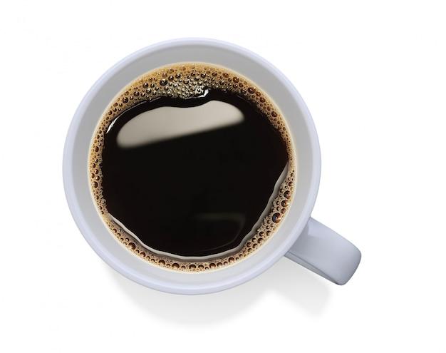Vista dall'alto di una tazza di caffè isolata Foto Premium