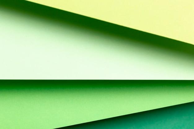 Vista dall'alto diverse tonalità di carta verde close-up Foto Gratuite