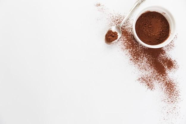 Vista dall'alto in polvere di cacao Foto Gratuite