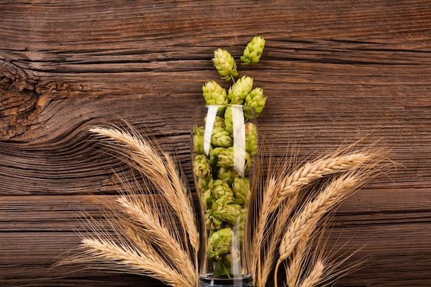 Vista dall'alto luppolo fresco in un bicchiere di birra Foto Gratuite
