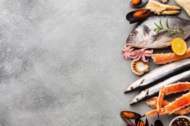 Vista dall'alto mix di frutti di mare con copia-spazio Foto Gratuite