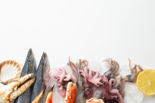 Vista dall'alto mix di frutti di mare sul tavolo Foto Gratuite