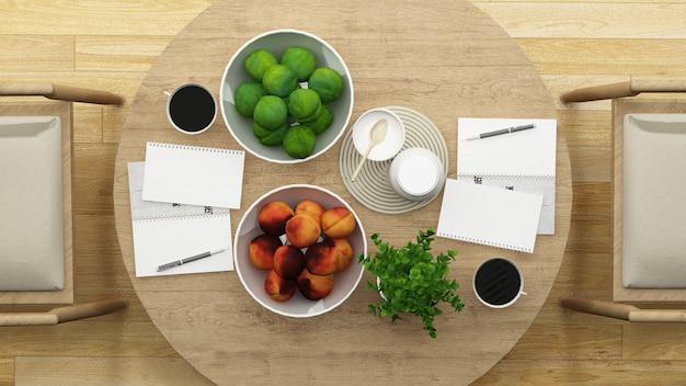 Vista dall'alto sala da pranzo o ristorante design minimal - rendering 3d Foto Premium