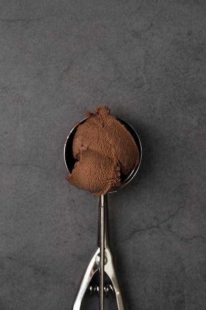 Vista dall'alto una pallina di gelato al cioccolato Foto Gratuite