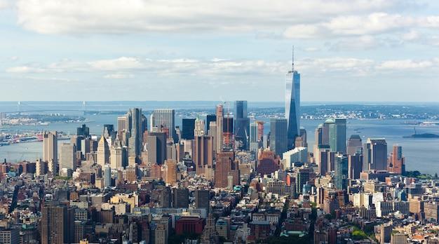 Vista del paesaggio urbano di manhattan, new york city. Foto Premium