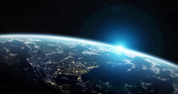 Vista del pianeta terra blu nello spazio Foto Premium