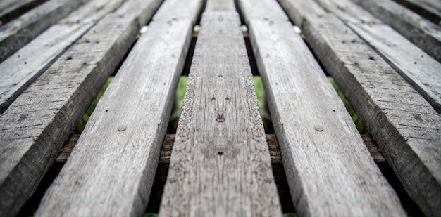 Vista del primo piano delle superfici di parete di legno per fondo e pavimenti di legno antichi Foto Premium