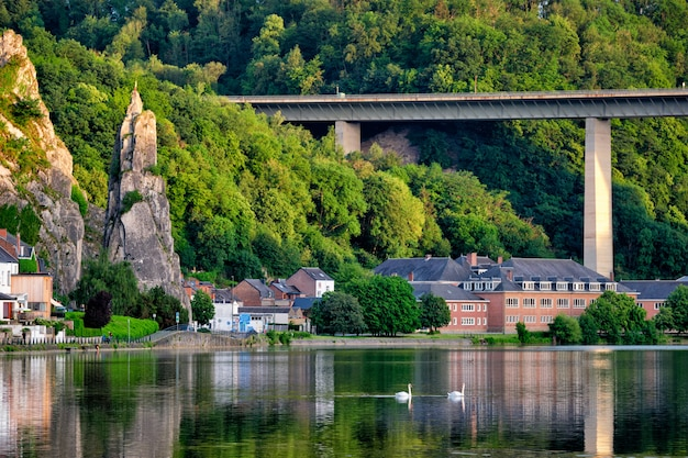 Vista della pittoresca città di dinant sul fiume mosa dinant è una città vallona e un comune situato sul fiume mosa Foto Premium