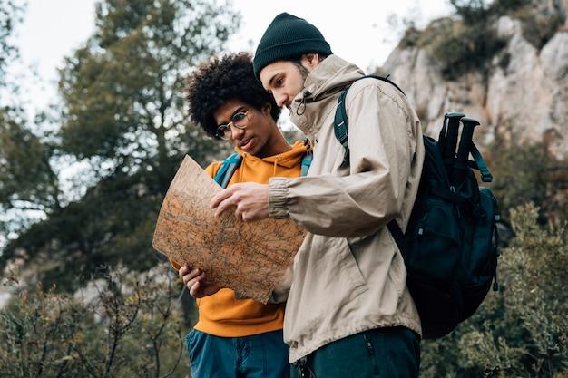 Vista di angolo basso della viandante che legge la mappa mentre facendo un'escursione in natura Foto Gratuite