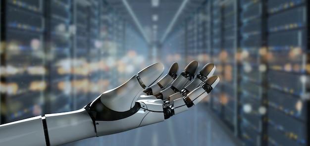 Vista di un cyborg della mano del robot - rappresentazione 3d Foto Premium