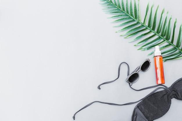 Vista elevata di profumo, reggiseno, occhiali da sole e foglie Foto Gratuite