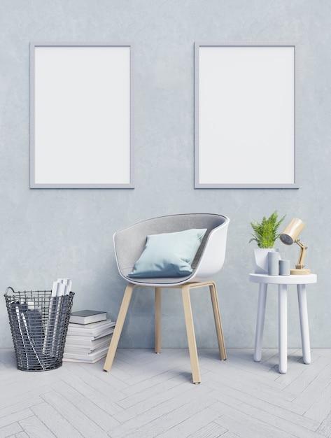 Vista frontale di un interno di lavoro con parete vuota stanza blu, poster mockup su wa blu chiaro Foto Premium