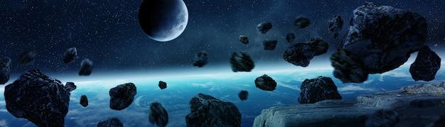 Vista panoramica del pianeta terra con asteroidi che volano vicino rendering 3d Foto Premium