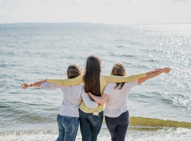 Vista posteriore amici al mare Foto Gratuite