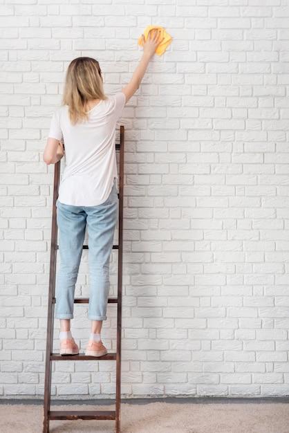 Vista posteriore del muro di mattoni di pulizia della donna su una scala Foto Gratuite