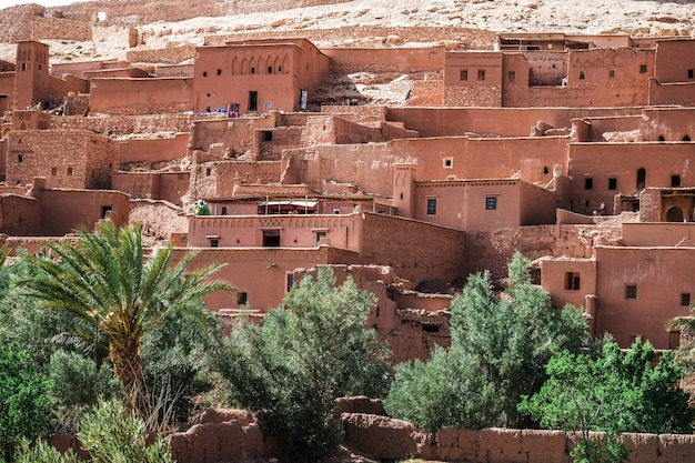Vista ravvicinata di ksar ait benhaddou, ouarzazate, marocco. Foto Premium