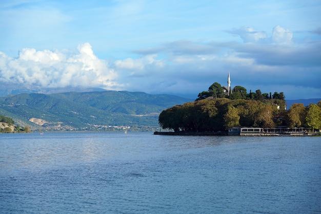 Vista sul lago con piccola foresta Foto Premium